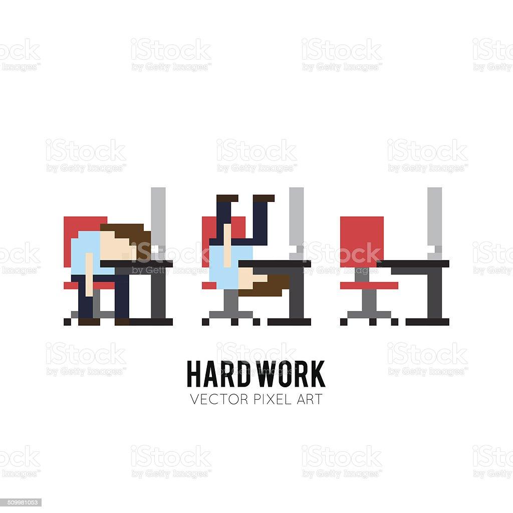 Hard Work vector art illustration