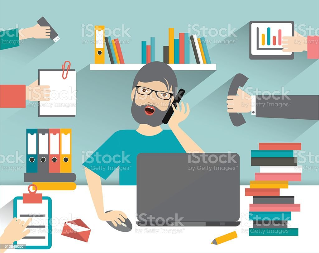 Hard working business man. Worksplace flat vector illustration. vector art illustration