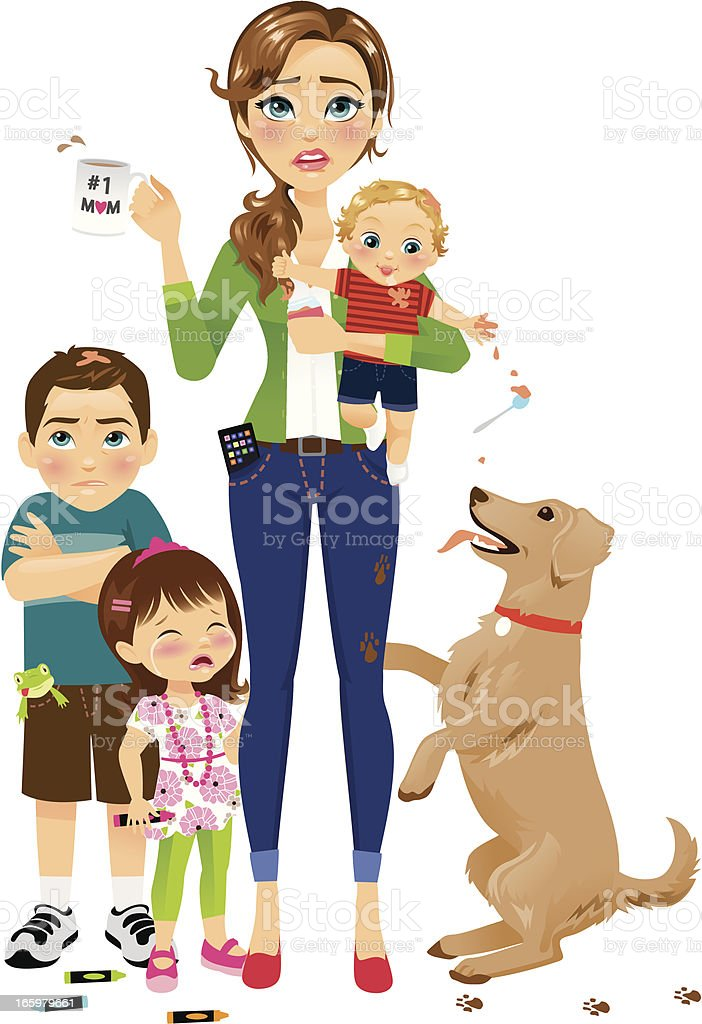 Hard Working Mom with Kids vector art illustration