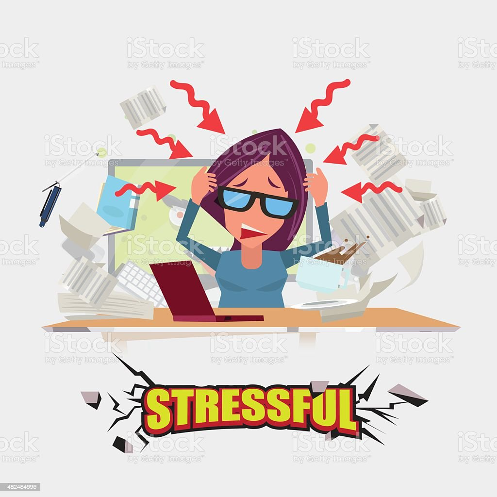 hard working women. stressful concept - vector illustration vector art illustration