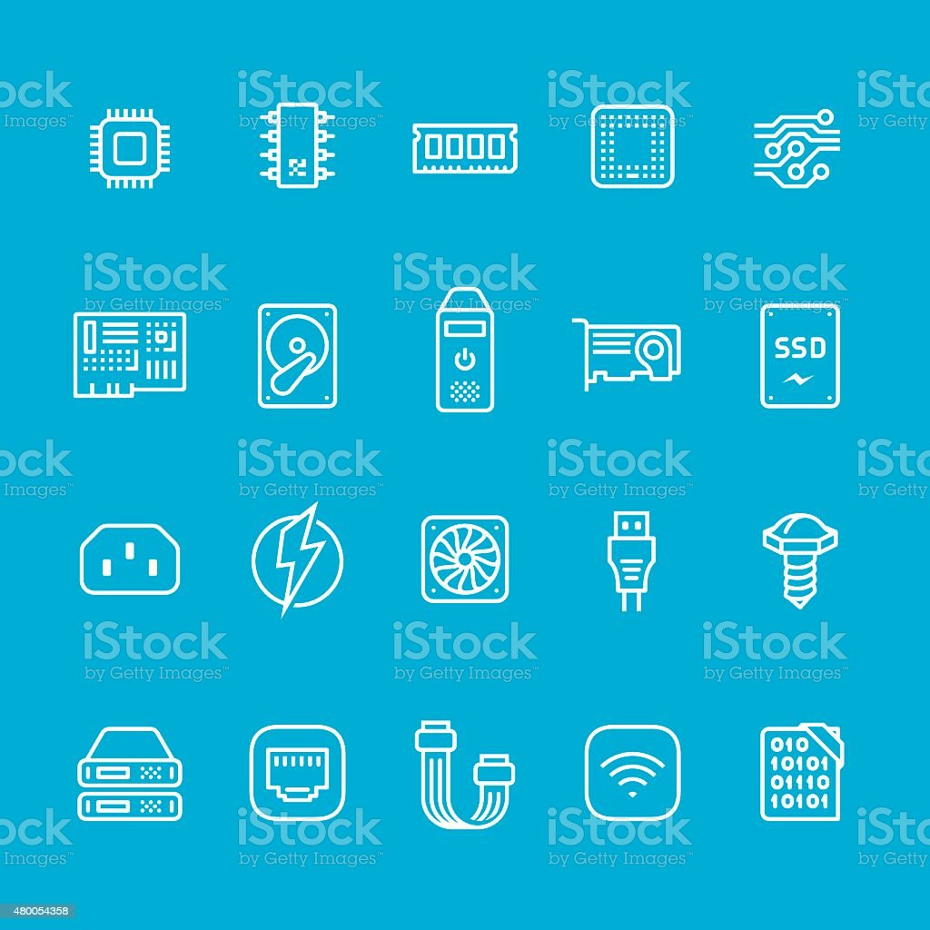 Hardware and computer part icons collection vector art illustration