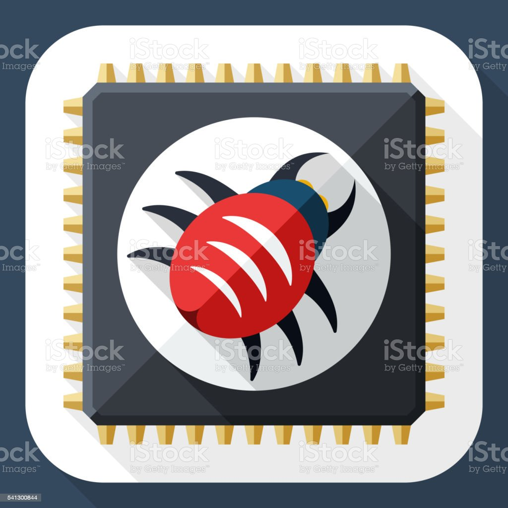 Hardware bug icon with long shadow vector art illustration