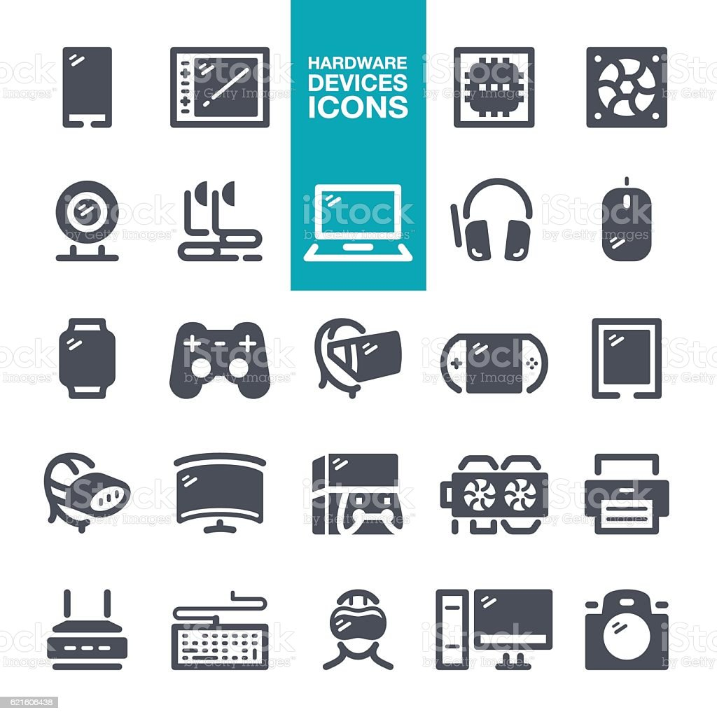Hardware devices icons vector art illustration