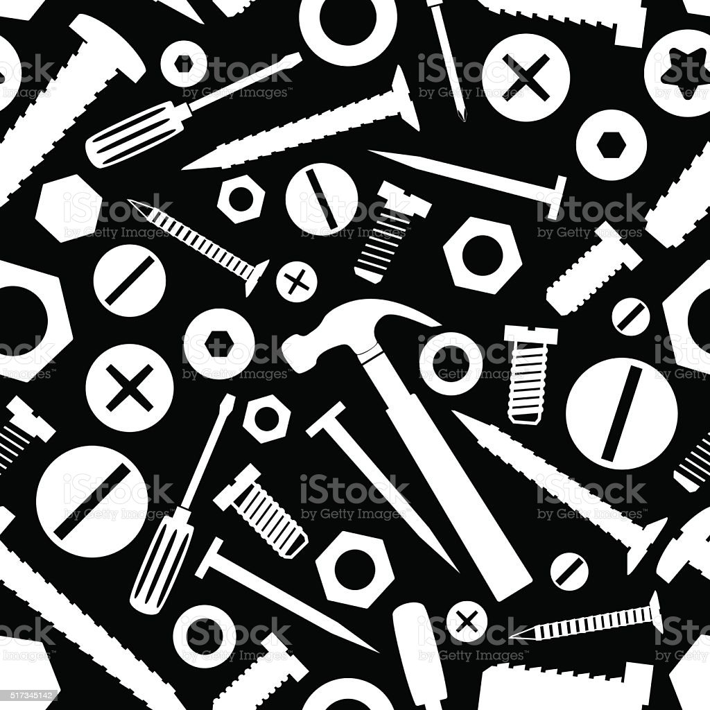 hardware screws and nails with tools black seamless pattern eps10 vector art illustration