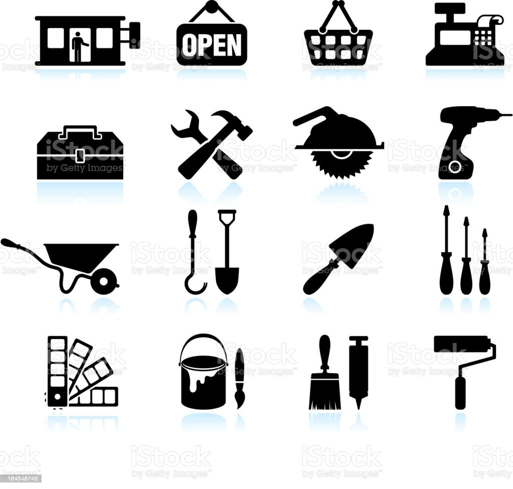 hardware store black & white royalty free vector icon set royalty-free stock vector art
