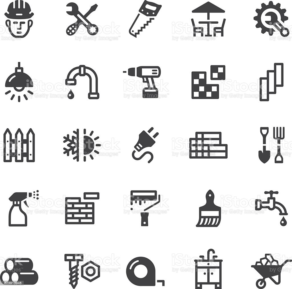 hardware store icons - Black series vector art illustration