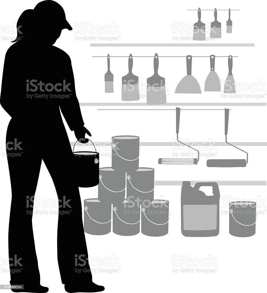 Hardware Store Painting Aisle vector art illustration