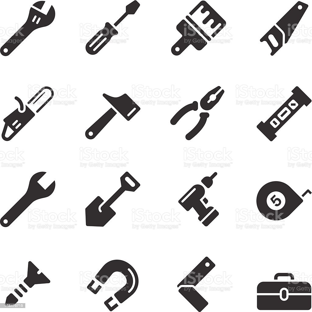 Hardware tools in black and white simple vector icon style vector art illustration