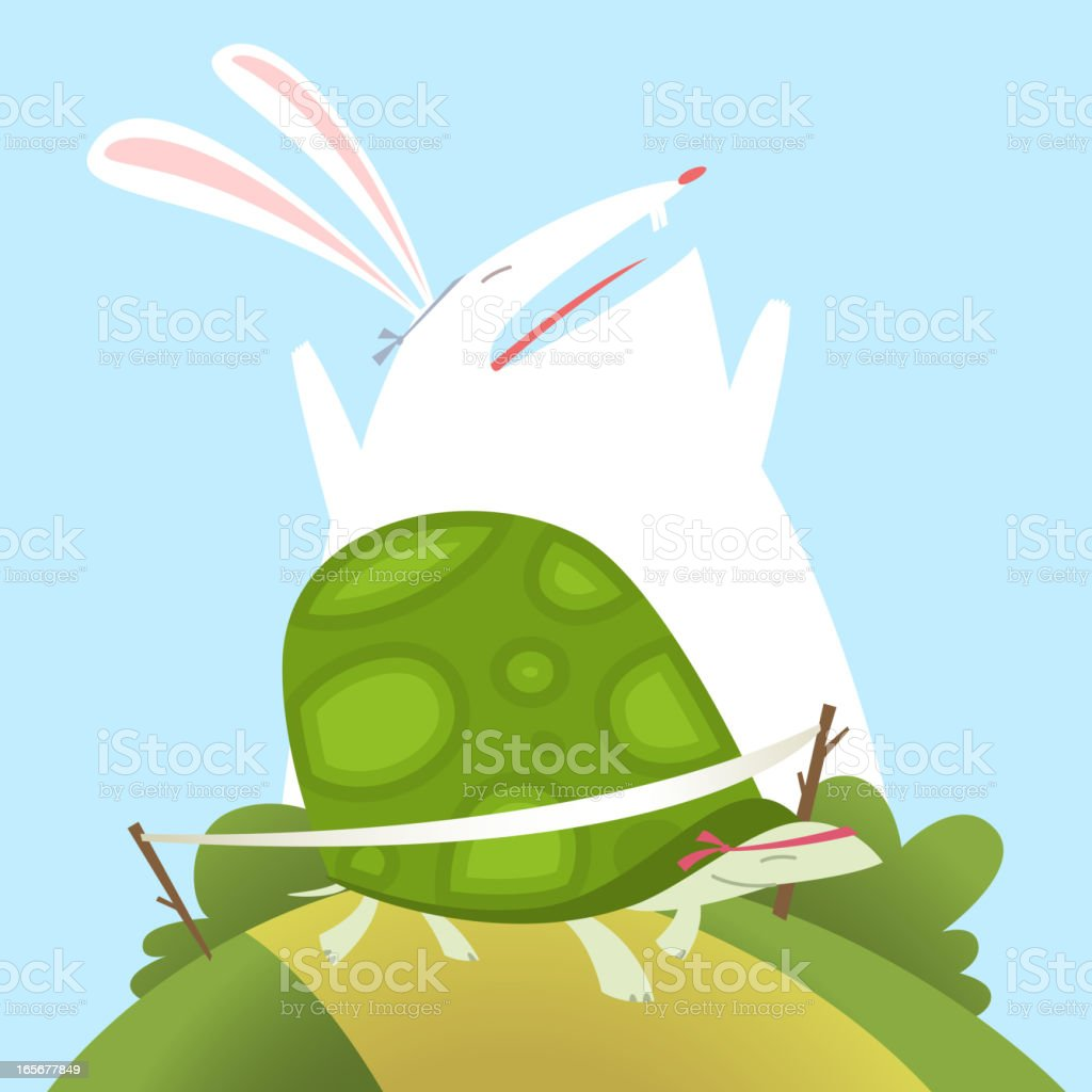 Hare and Tortoise Fable royalty-free stock vector art