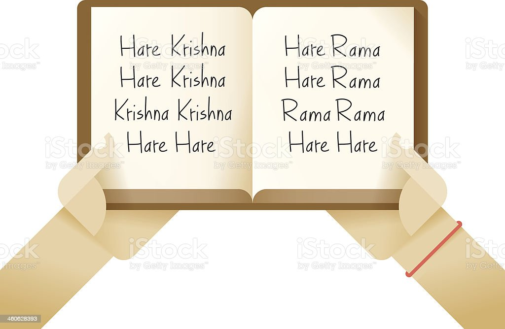 Hare Krishna mantra in the open book royalty-free stock vector art