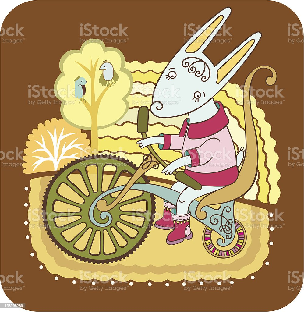 Hare on a bike royalty-free stock vector art