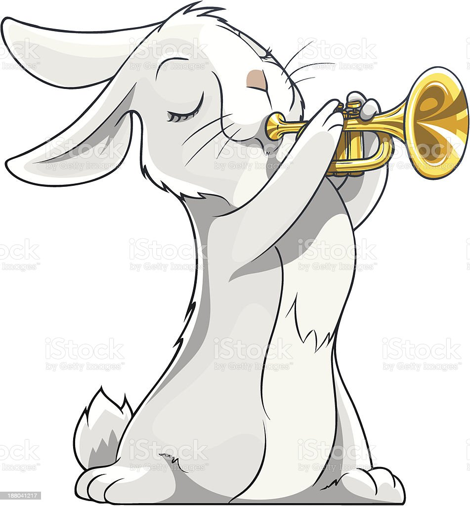 hare playing trumpet royalty-free stock vector art