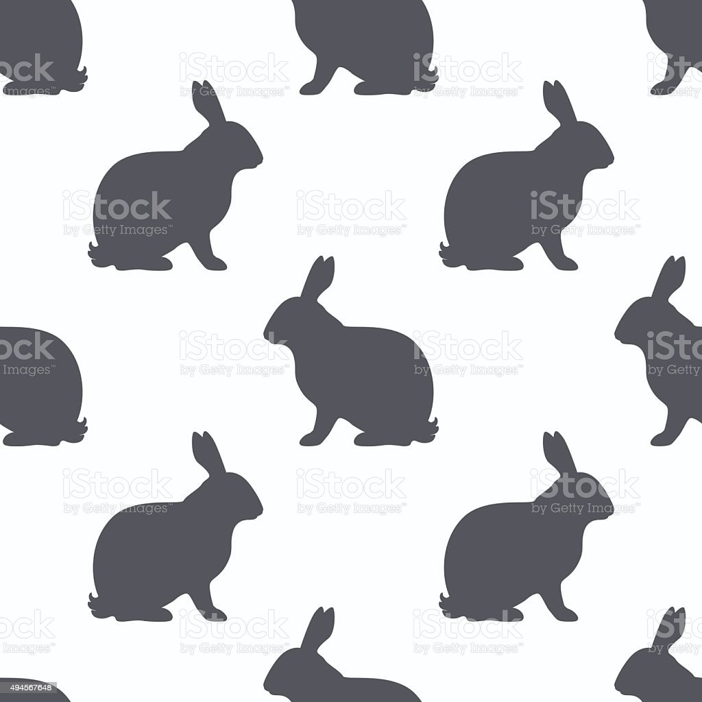 Hare silhouette seamless pattern. Rabbit meat background vector art illustration