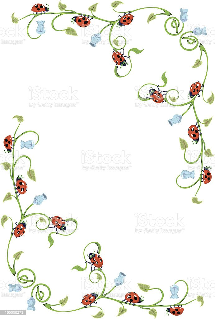 Harebell and Ladybug Border. vector art illustration