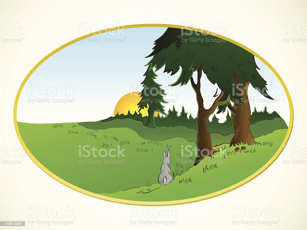 Hares in the wonderland. Vector background royalty-free stock vector art