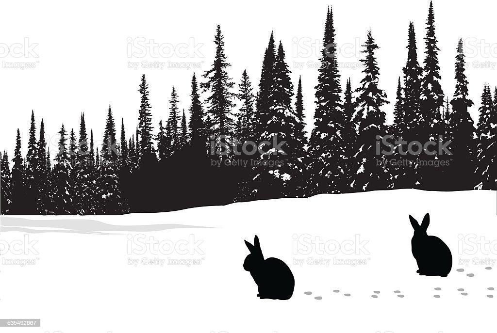 Hares vector art illustration