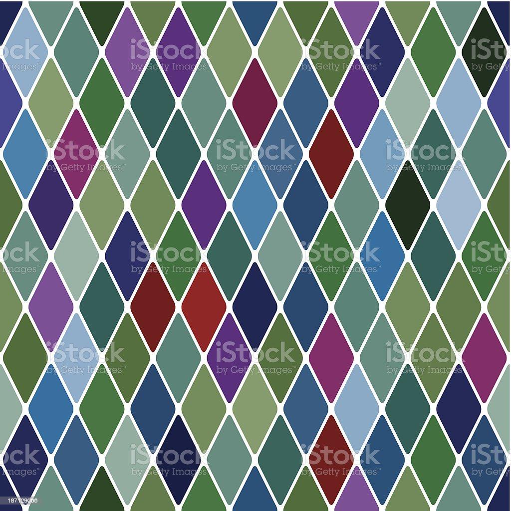 Harlequine Esmerald seamless pattern vector art illustration