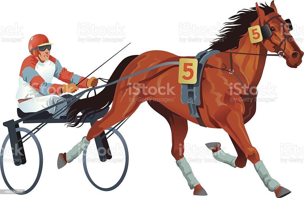 Harness Racing Horse in Full Flight vector art illustration