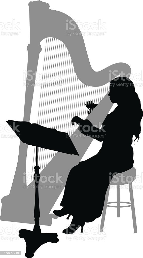 Harpist Silhouette royalty-free stock vector art