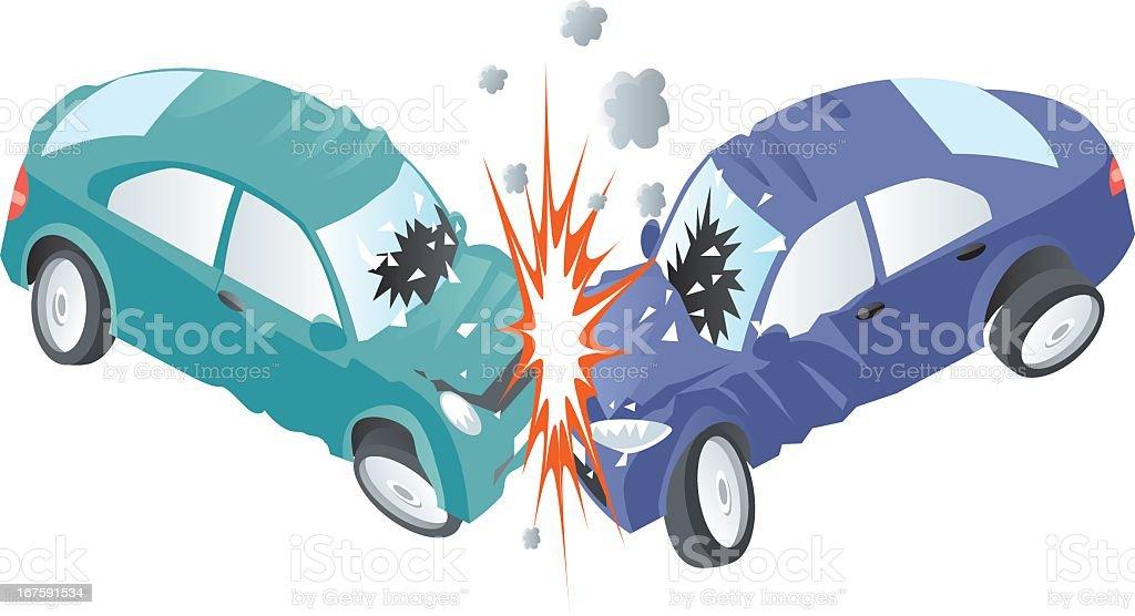 Harsh car crash between a green and a blue car vector art illustration