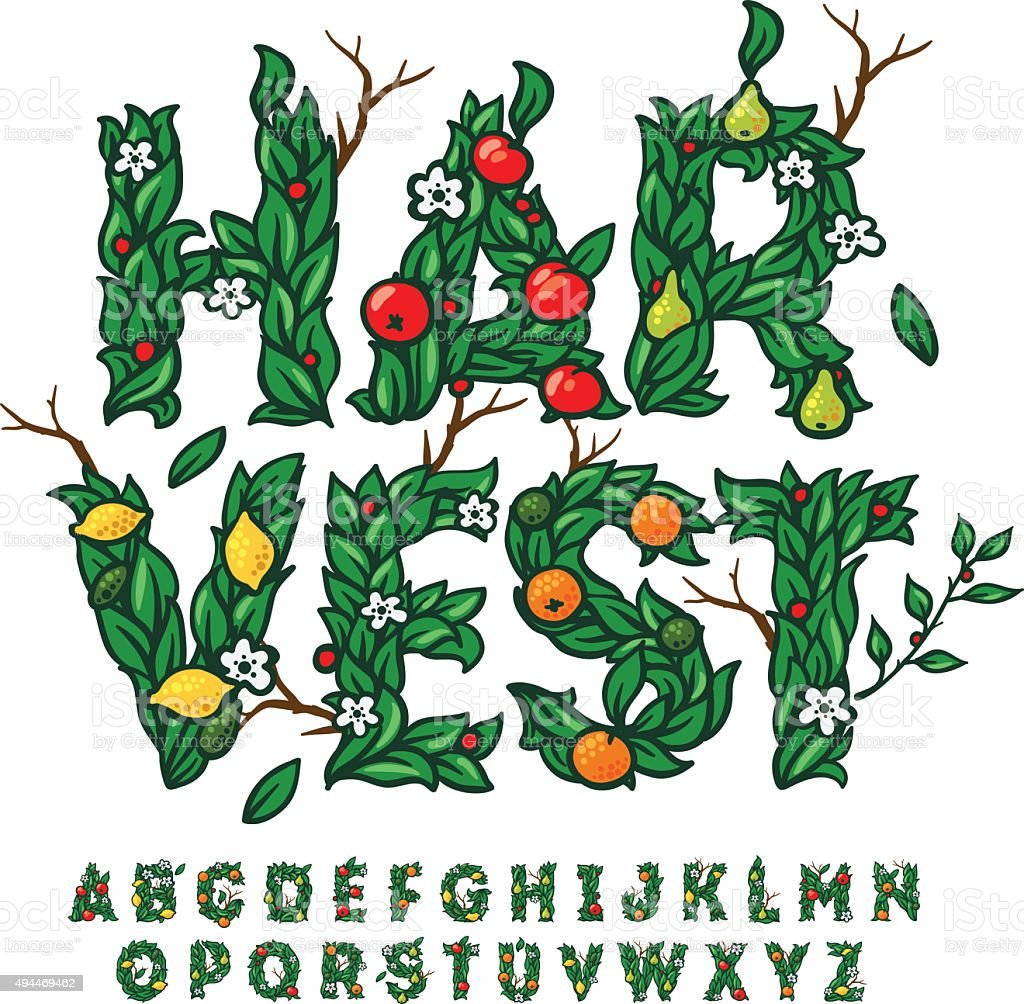 Harvest festival alphabet made with leaves and fruits vector art illustration