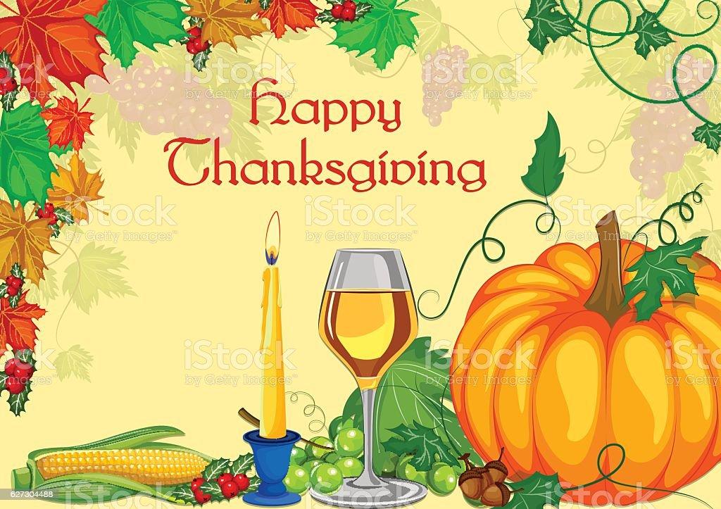 Harvest festival Happy Thanksgiving Day holiday celebration vector art illustration