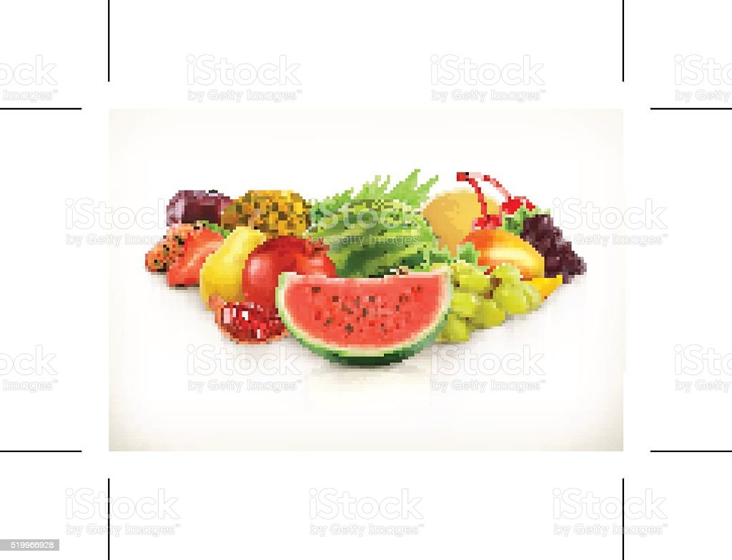 Harvest,  juicy fruit and berries vector art illustration