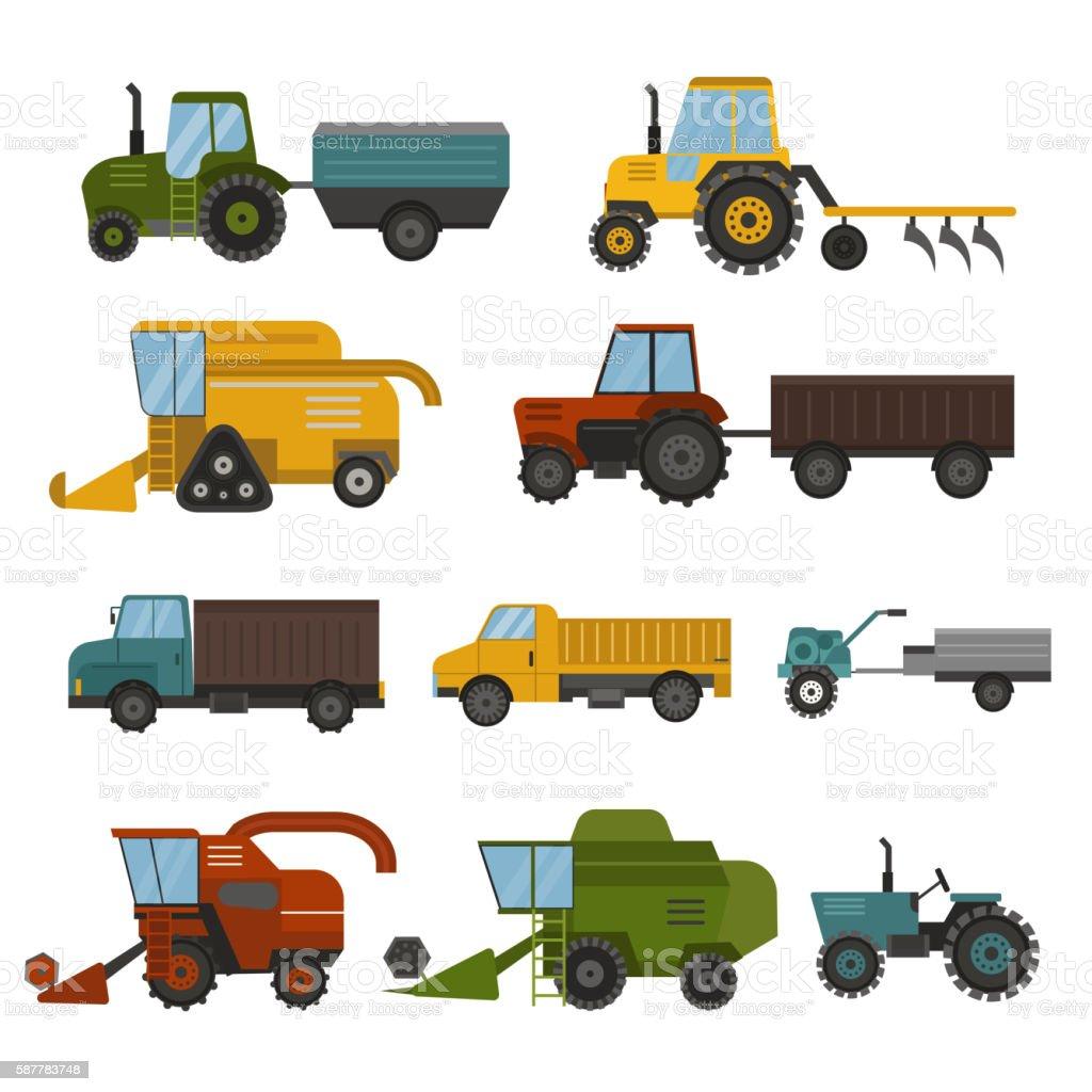 Harvest machine vector set. vector art illustration