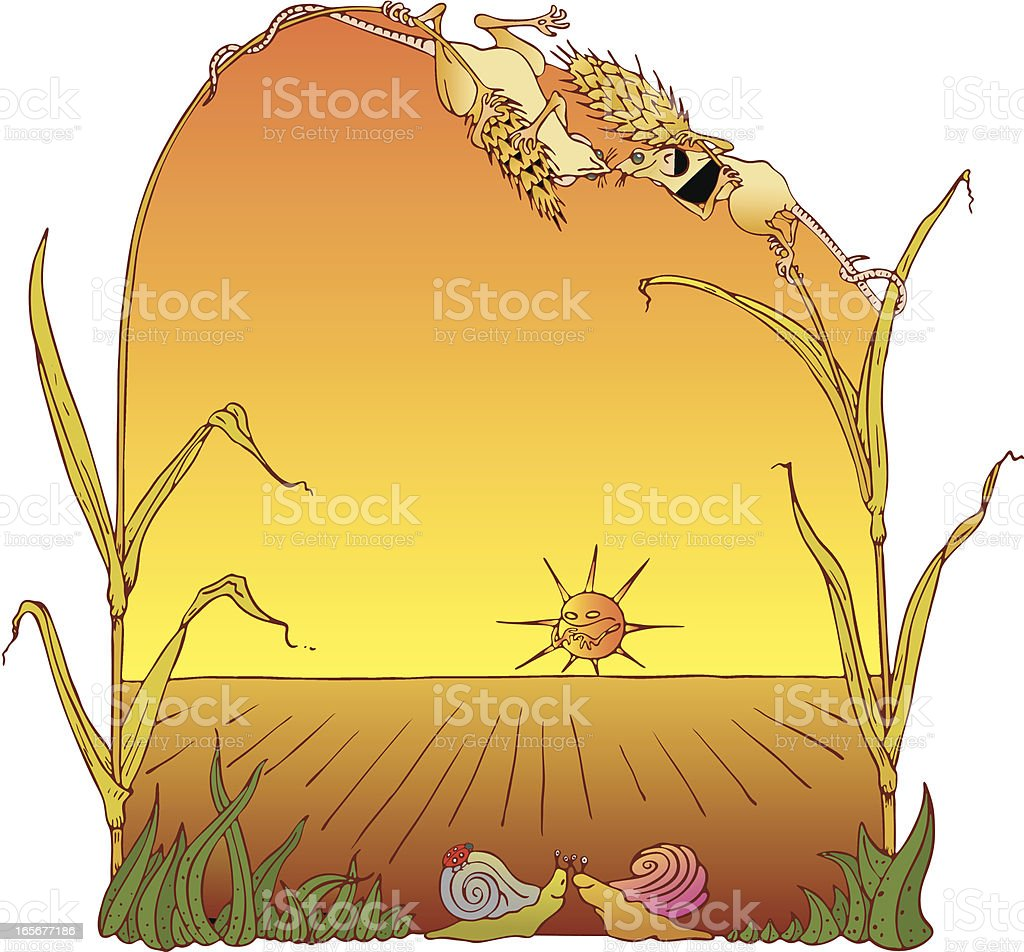 Harvest Mouse Love You Border. royalty-free stock vector art