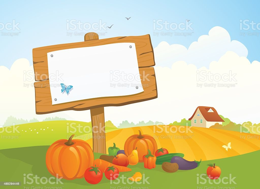 Harvest signboard vector art illustration