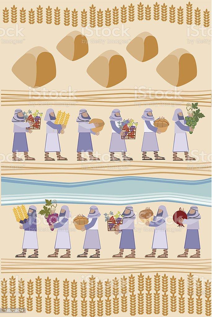 Harvest Time or Gifts Of Shavuot vector art illustration
