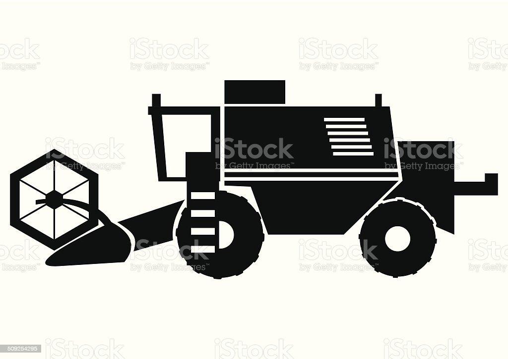 Harvester, silhouette vector art illustration