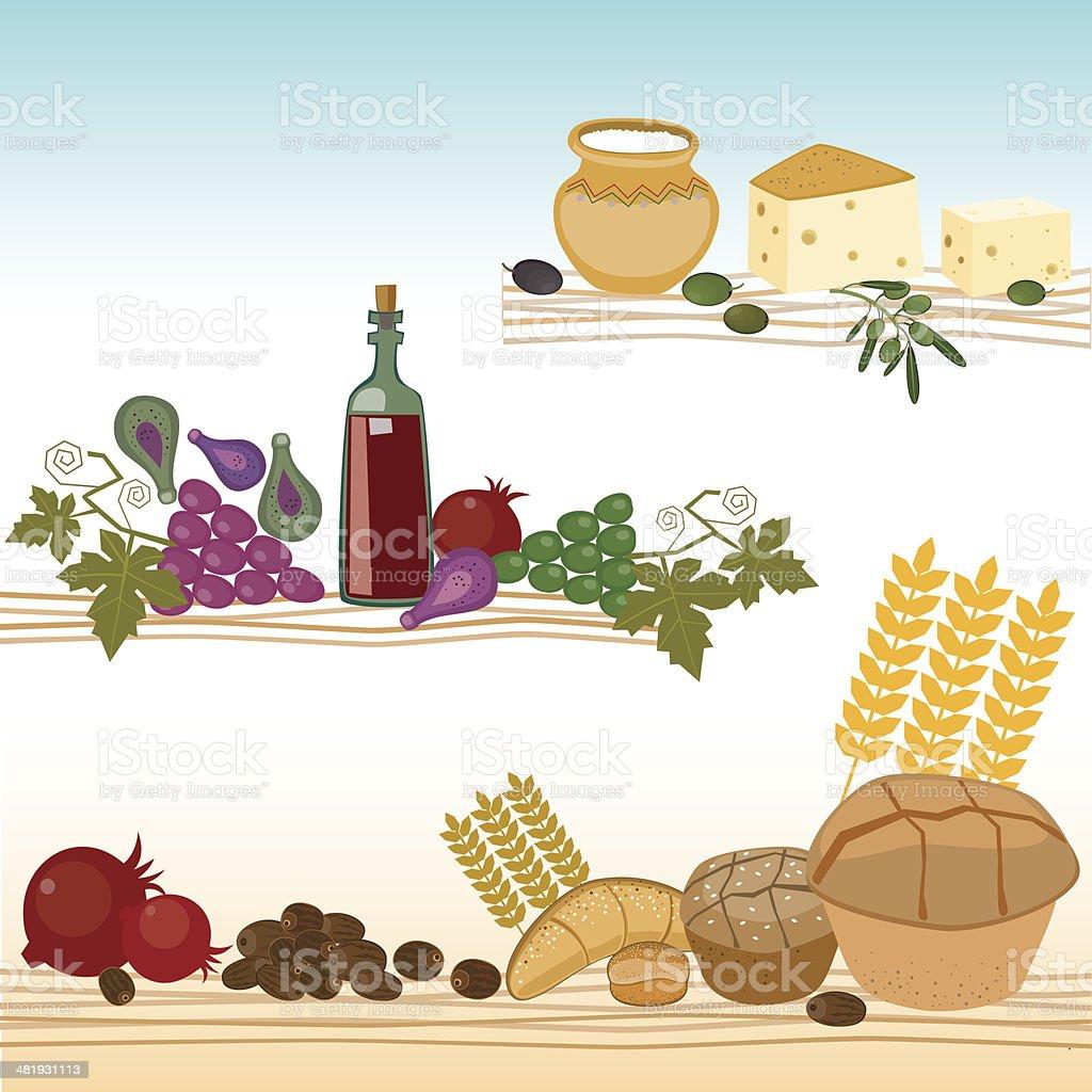 Harvesting And Dairy Set vector art illustration