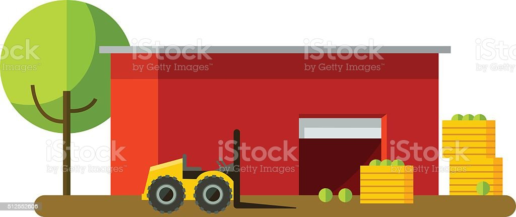 Harvesting and red storage in different seasons . vector art illustration