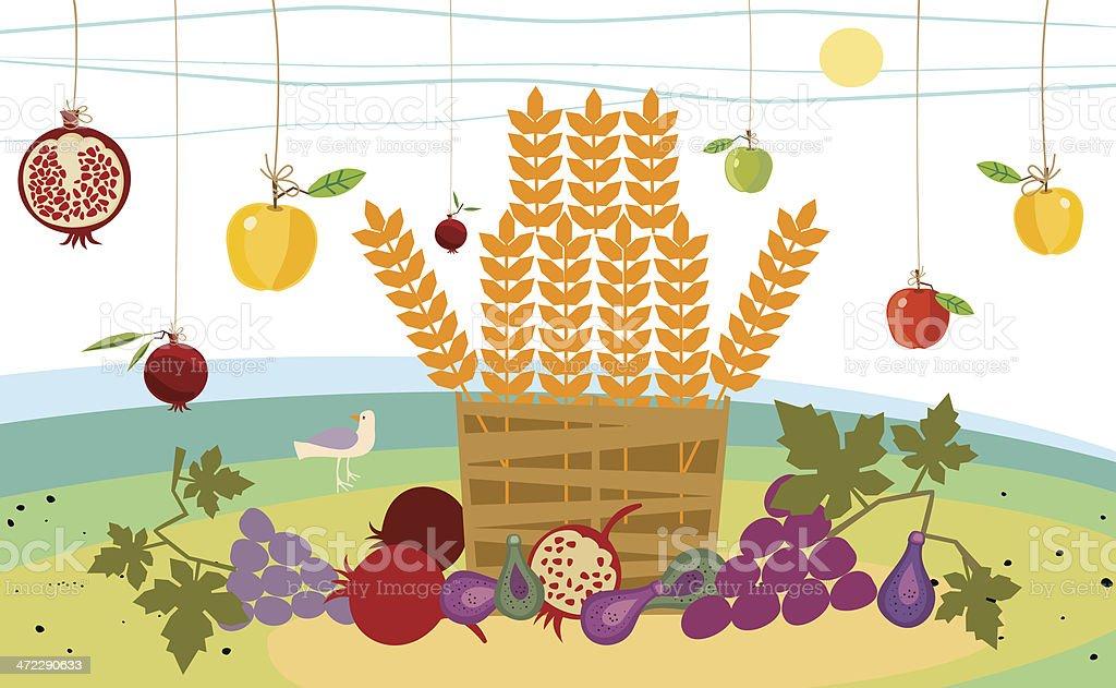 Harvesting Time and Basket of Fruit vector art illustration