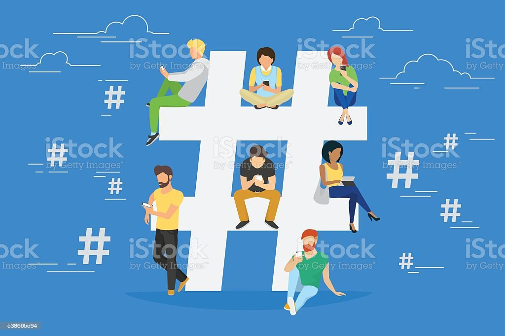 Hashtag concept illustration vector art illustration