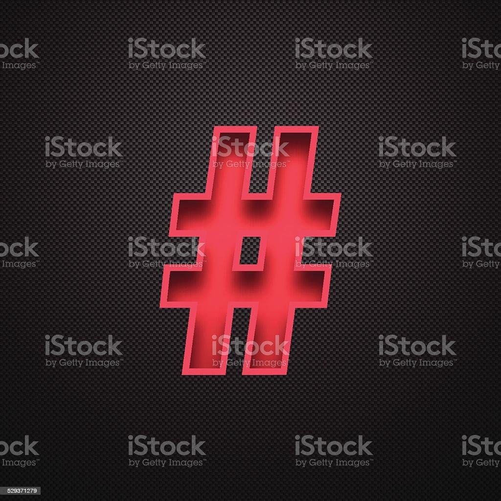 Hashtag # - Red Symbol on Carbon Fiber Background vector art illustration