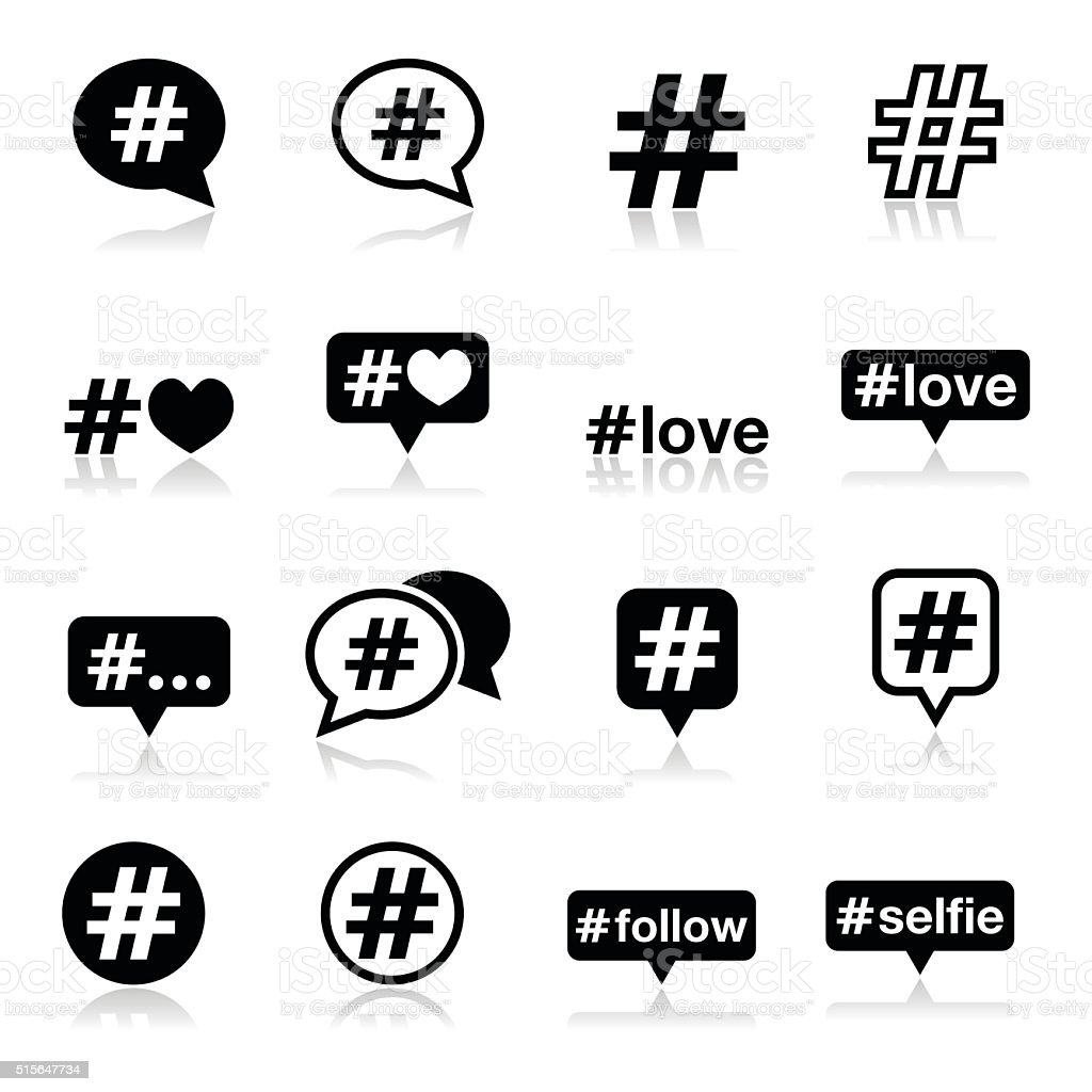 Hashtag, social media icons set vector art illustration