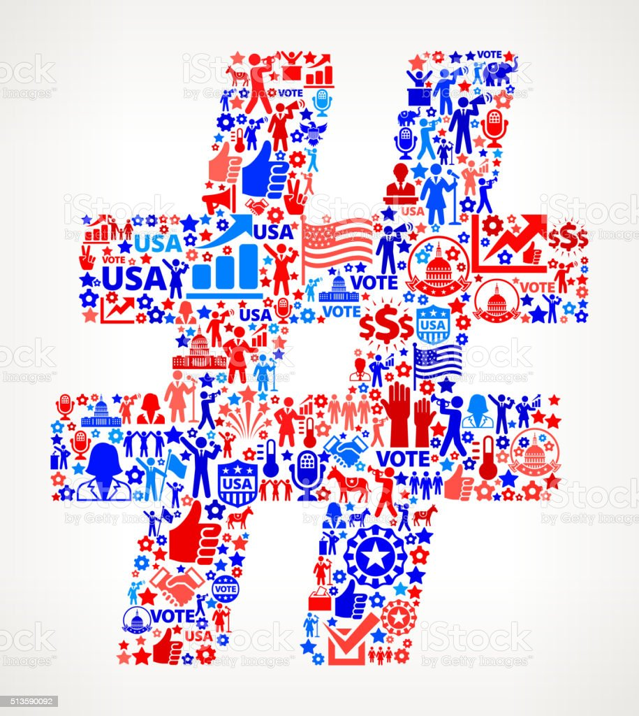Hashtag Vote and Elections USA Patriotic Icon Pattern vector art illustration