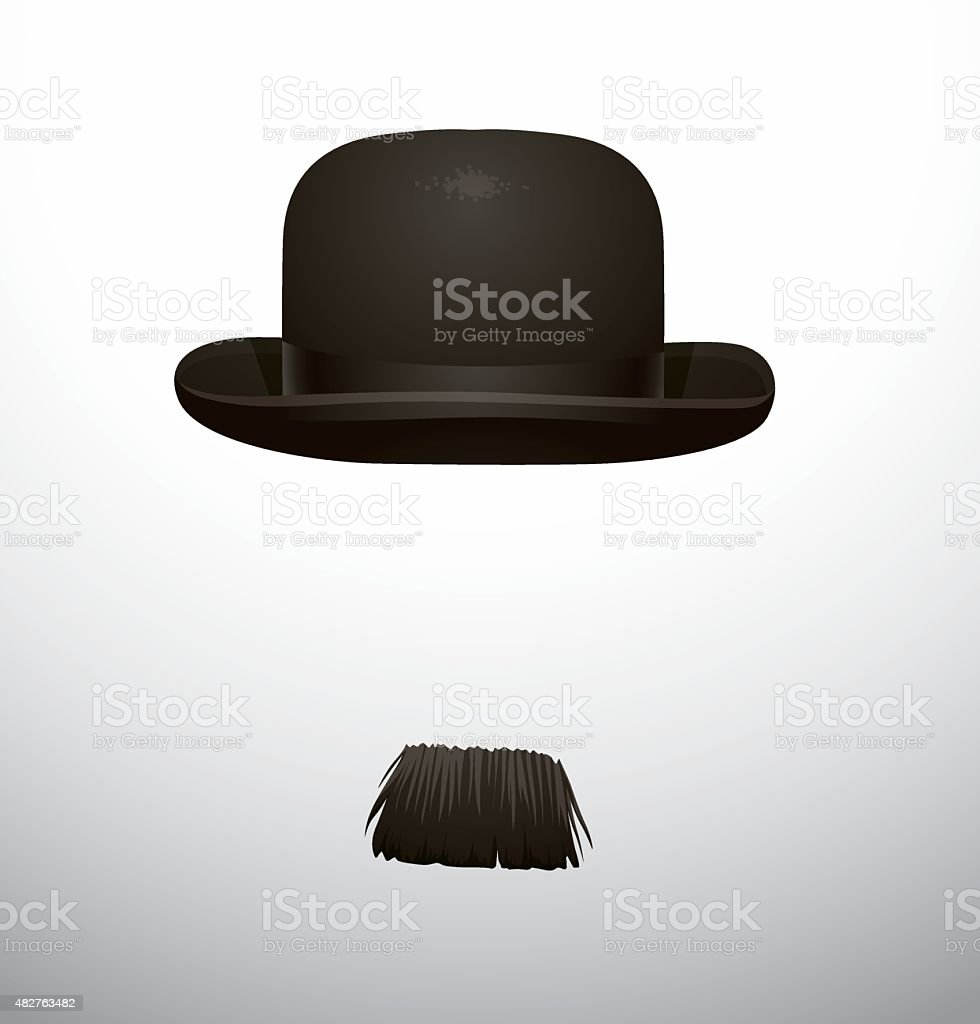 Hat and mustache vector art illustration