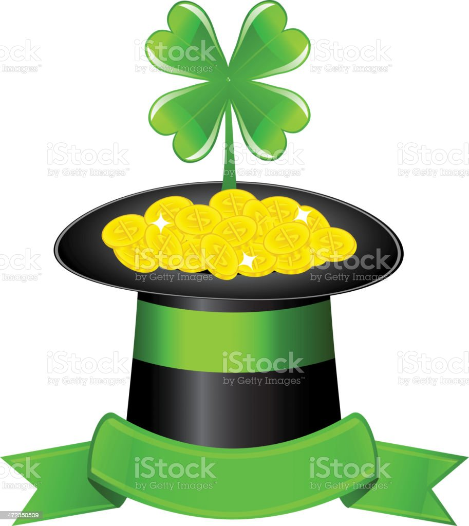 hat, clover and golden coins royalty-free stock vector art