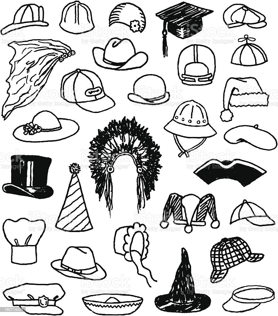 Hat Doodles vector art illustration