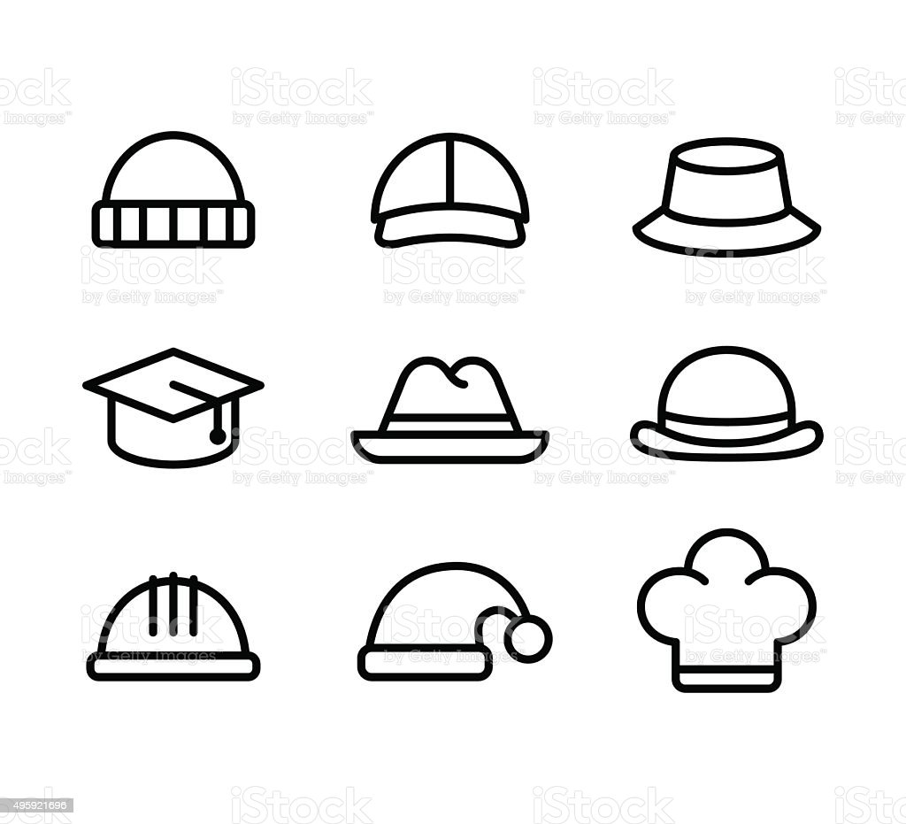 Hat line icons vector art illustration