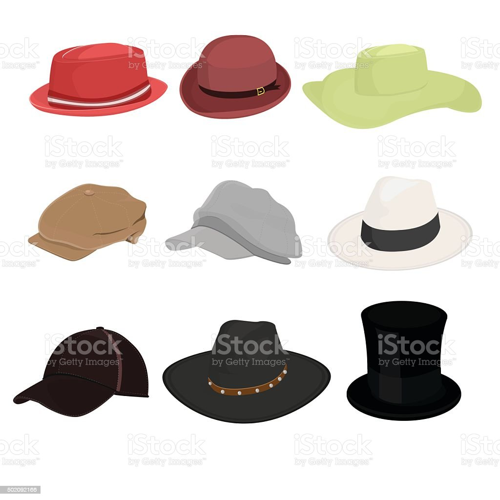 Hat set of nine isolate on white background vector art illustration