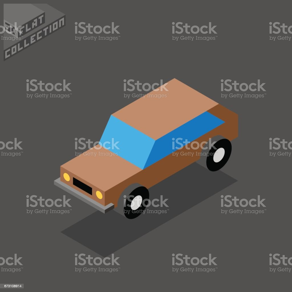 Hatchback Car Icon. 3D Isometric Low Poly Flat Design. vector art illustration