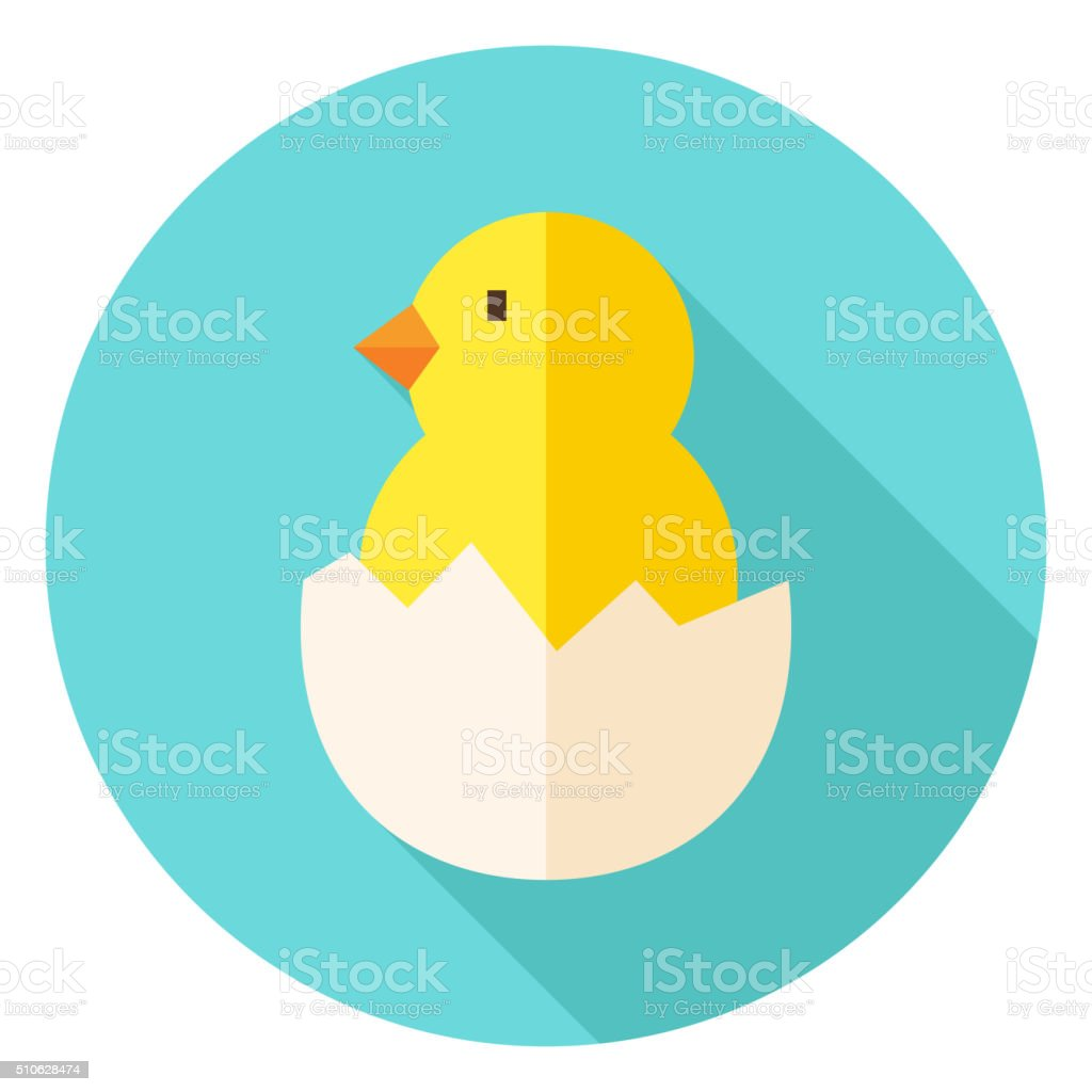 Hatched Chick in Eggshell Circle Icon vector art illustration