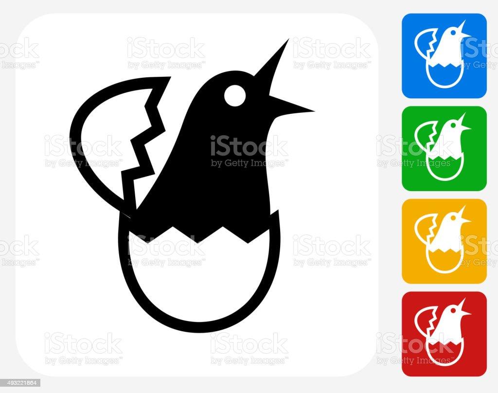 Hatching Bird Icon Flat Graphic Design vector art illustration