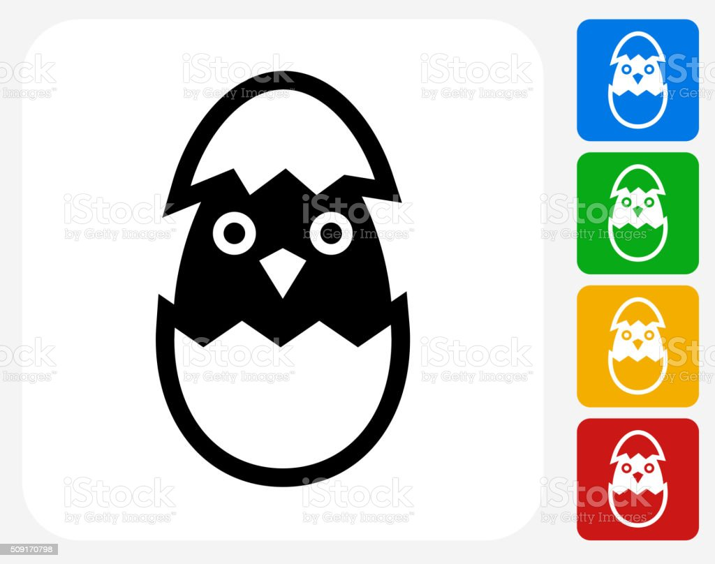 Hatching Bird Icon Flat Graphic Design vector art illustration