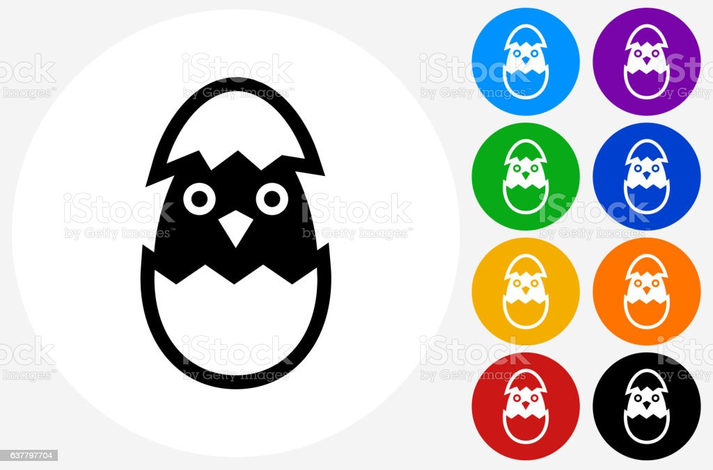 Hatching Bird Icon on Flat Color Circle Buttons vector art illustration