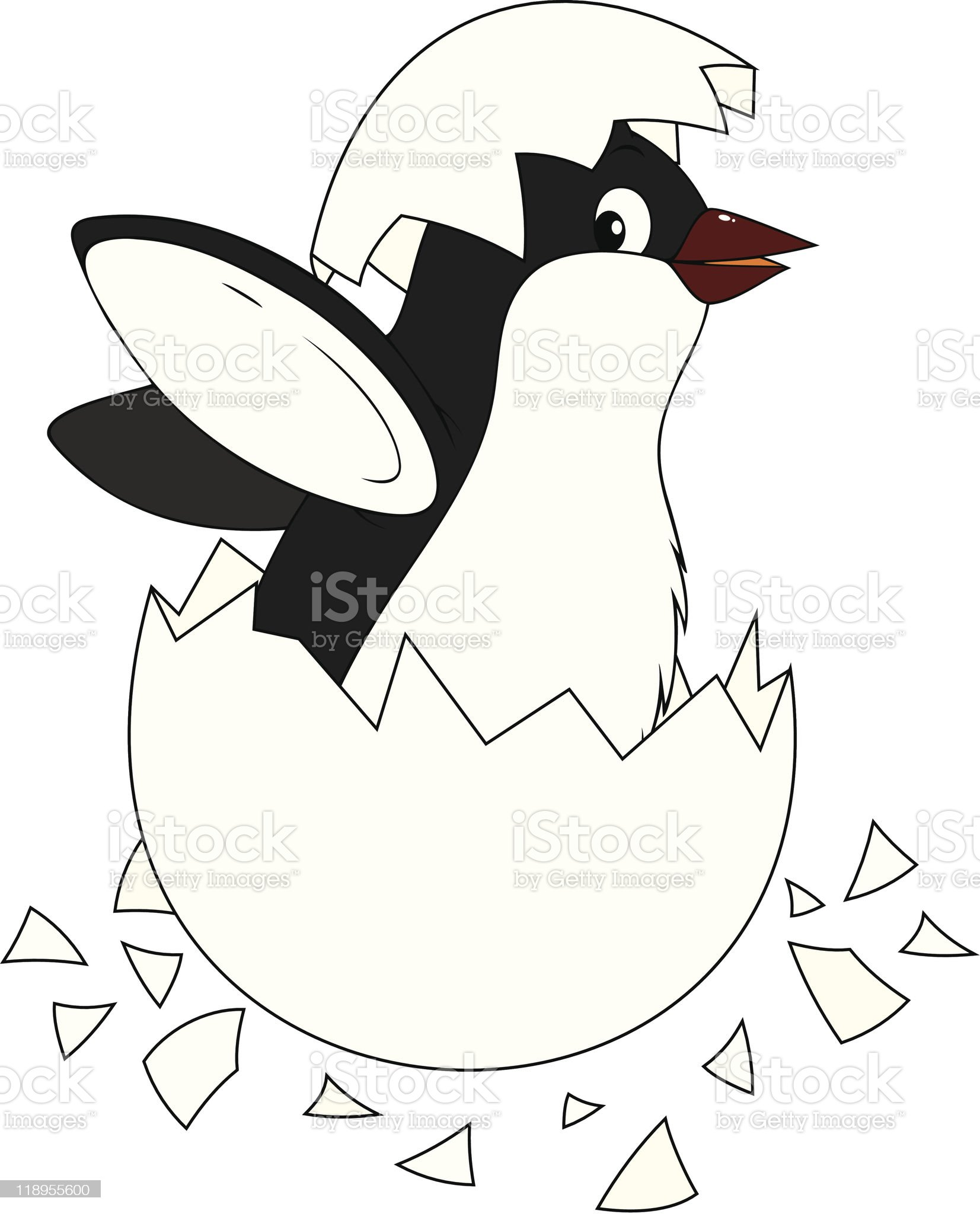 Hatching penguin royalty-free stock vector art